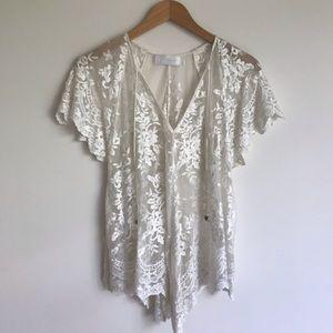 Zimmermann silk cotton embroidered blouse sz 0